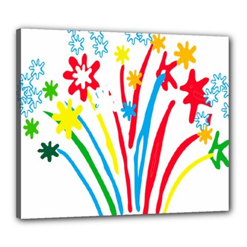 Fireworks Rainbow Flower Canvas 24  X 20  by Mariart