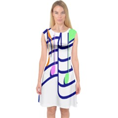 Music Note Tone Rainbow Blue Pink Greeen Sexy Capsleeve Midi Dress