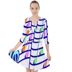 Music Note Tone Rainbow Blue Pink Greeen Sexy Quarter Sleeve Front Wrap Dress