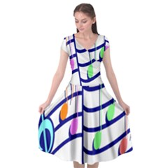 Music Note Tone Rainbow Blue Pink Greeen Sexy Cap Sleeve Wrap Front Dress