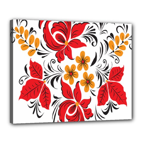 Flower Red Rose Star Floral Yellow Black Leaf Canvas 20  X 16  by Mariart