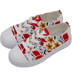Flower Red Rose Star Floral Yellow Black Leaf Kids  Low Top Canvas Sneakers by Mariart