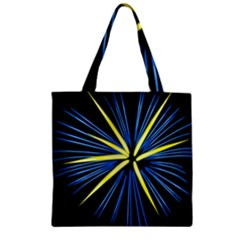 Fireworks Blue Green Black Happy New Year Zipper Grocery Tote Bag by Mariart