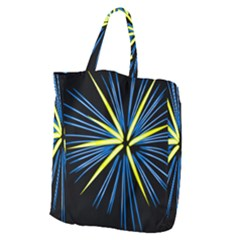 Fireworks Blue Green Black Happy New Year Giant Grocery Zipper Tote by Mariart