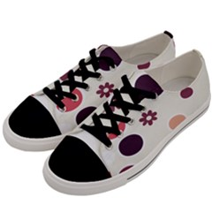 Polka Dots Flower Floral Rainbow Men s Low Top Canvas Sneakers by Mariart
