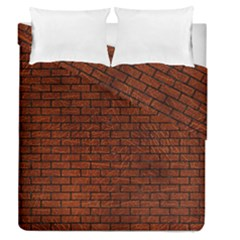 Brick1 Black Marble & Reddish Brown Leather Duvet Cover Double Side (queen Size) by trendistuff