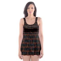 Brick1 Black Marble & Reddish Brown Leather (r) Skater Dress Swimsuit by trendistuff