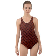 Brick2 Black Marble & Reddish Brown Leather Cut Out Back One Piece Swimsuit by trendistuff