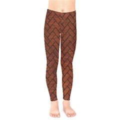 Brick2 Black Marble & Reddish Brown Leather Kids  Legging by trendistuff