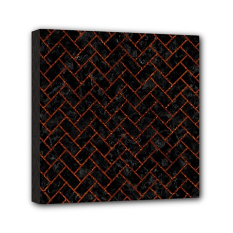 Brick2 Black Marble & Reddish Brown Leather (r) Mini Canvas 6  X 6  by trendistuff