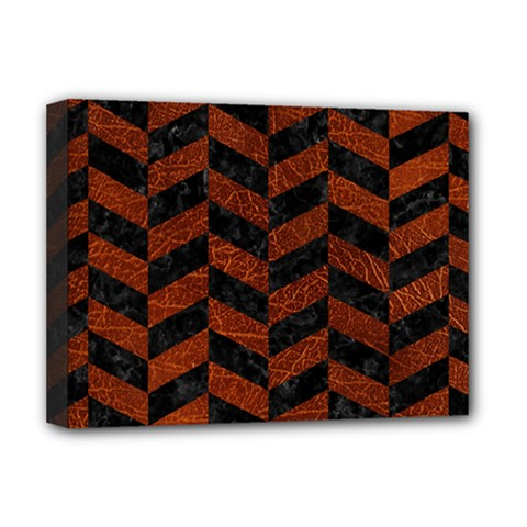 Chevron1 Black Marble & Reddish Brown Leather Deluxe Canvas 16  X 12   by trendistuff
