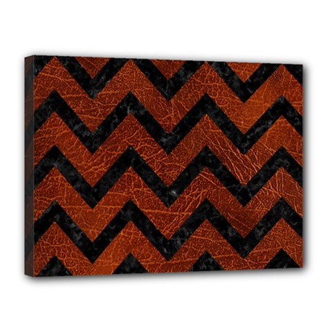 Chevron9 Black Marble & Reddish Brown Leather Canvas 16  X 12