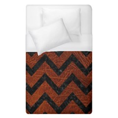 Chevron9 Black Marble & Reddish Brown Leather Duvet Cover (single Size) by trendistuff