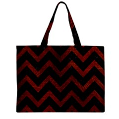 Chevron9 Black Marble & Reddish Brown Leather (r) Zipper Mini Tote Bag by trendistuff