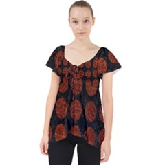 Circles1 Black Marble & Reddish Brown Leather (r) Lace Front Dolly Top