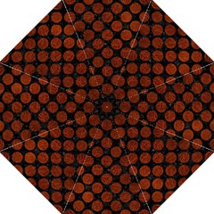 Circles2 Black Marble & Reddish Brown Leather (r) Folding Umbrellas by trendistuff