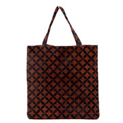 Circles3 Black Marble & Reddish Brown Leather Grocery Tote Bag by trendistuff