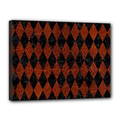 Diamond1 Black Marble & Reddish Brown Leather Canvas 16  X 12  by trendistuff