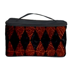 Diamond1 Black Marble & Reddish Brown Leather Cosmetic Storage Case by trendistuff