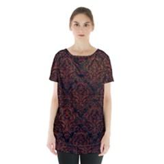 Damask1 Black Marble & Reddish Brown Leather (r) Skirt Hem Sports Top by trendistuff