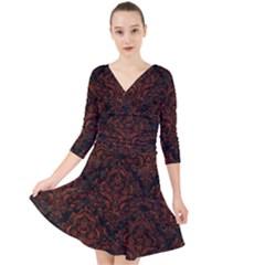 Damask1 Black Marble & Reddish Brown Leather (r) Quarter Sleeve Front Wrap Dress