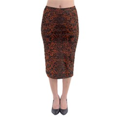 Damask2 Black Marble & Reddish Brown Leather Midi Pencil Skirt by trendistuff