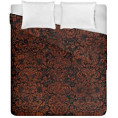 Damask2 Black Marble & Reddish Brown Leather (r) Duvet Cover Double Side (california King Size) by trendistuff