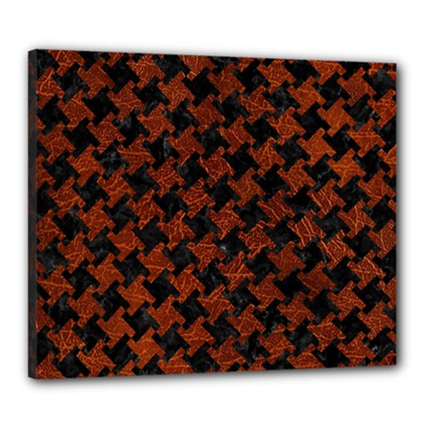 Houndstooth2 Black Marble & Reddish Brown Leather Canvas 24  X 20  by trendistuff