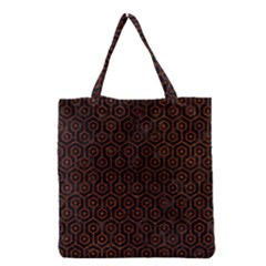 Hexagon1 Black Marble & Reddish Brown Leather (r) Grocery Tote Bag by trendistuff