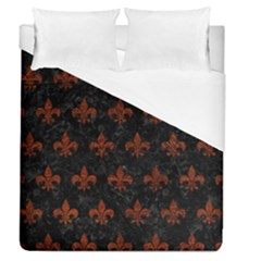 Royal1 Black Marble & Reddish Brown Leather Duvet Cover (queen Size) by trendistuff