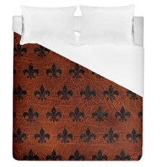 Royal1 Black Marble & Reddish Brown Leather (r) Duvet Cover (queen Size) by trendistuff