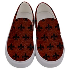 Royal1 Black Marble & Reddish Brown Leather (r) Men s Canvas Slip Ons
