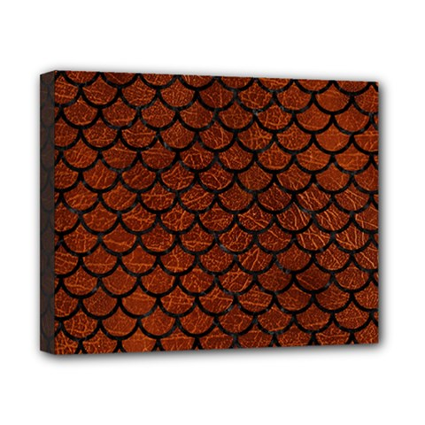 Scales1 Black Marble & Reddish Brown Leather Canvas 10  X 8  by trendistuff