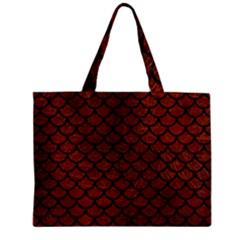 Scales1 Black Marble & Reddish Brown Leather Zipper Mini Tote Bag by trendistuff