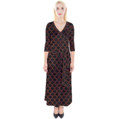 Scales1 Black Marble & Reddish Brown Leather (r) Quarter Sleeve Wrap Maxi Dress