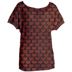 Scales3 Black Marble & Reddish Brown Leather Women s Oversized Tee