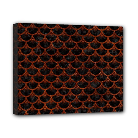 Scales3 Black Marble & Reddish Brown Leather (r) Canvas 10  X 8  by trendistuff