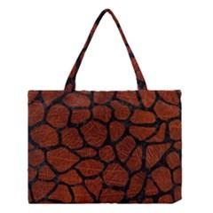 Skin1 Black Marble & Reddish Brown Leather (r) Medium Tote Bag by trendistuff