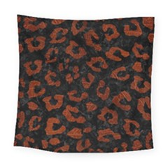 Skin5 Black Marble & Reddish Brown Leather Square Tapestry (large) by trendistuff