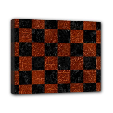 Square1 Black Marble & Reddish Brown Leather Canvas 10  X 8  by trendistuff