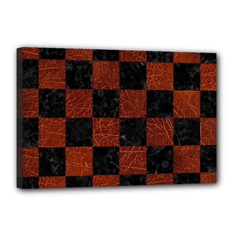 Square1 Black Marble & Reddish Brown Leather Canvas 18  X 12  by trendistuff