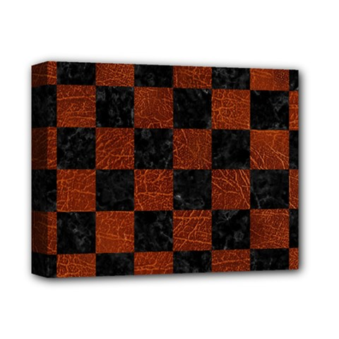 Square1 Black Marble & Reddish Brown Leather Deluxe Canvas 14  X 11  by trendistuff
