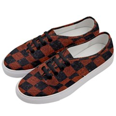 Square1 Black Marble & Reddish Brown Leather Women s Classic Low Top Sneakers by trendistuff