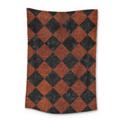 Square2 Black Marble & Reddish Brown Leather Small Tapestry