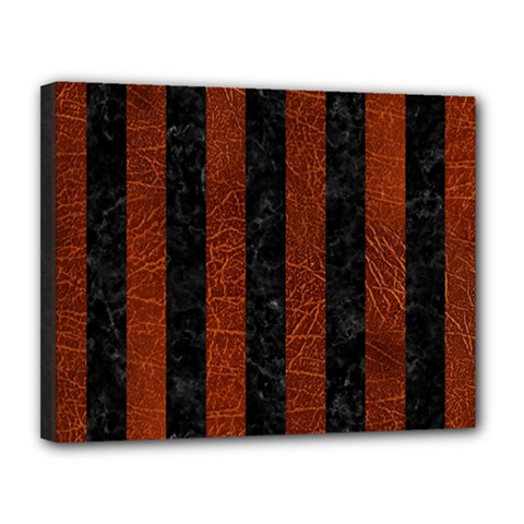 Stripes1 Black Marble & Reddish Brown Leather Canvas 14  X 11  by trendistuff