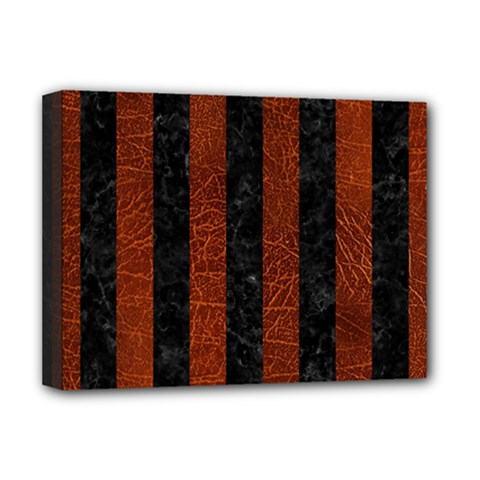 Stripes1 Black Marble & Reddish Brown Leather Deluxe Canvas 16  X 12