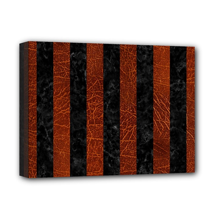 STRIPES1 BLACK MARBLE & REDDISH-BROWN LEATHER Deluxe Canvas 16  x 12