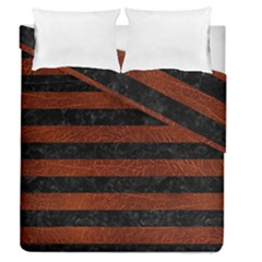 Stripes2 Black Marble & Reddish Brown Leather Duvet Cover Double Side (queen Size) by trendistuff