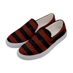 Stripes2 Black Marble & Reddish Brown Leather Women s Canvas Slip Ons by trendistuff