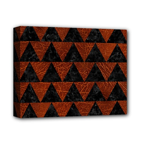 Triangle2 Black Marble & Reddish Brown Leather Deluxe Canvas 14  X 11  by trendistuff